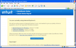 Quickbooks Online - IE6 Warning Message