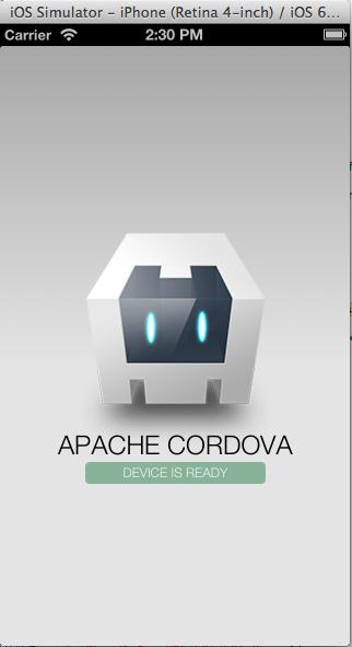 sample PhoneGap application running on iOS simulator