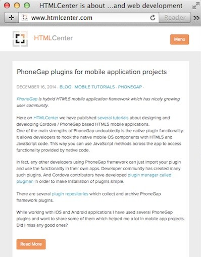 HTMLCenter new look mobile screens